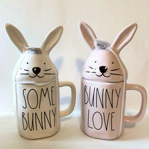 NWT Rae Dunn Easter bunny mug set with toppers